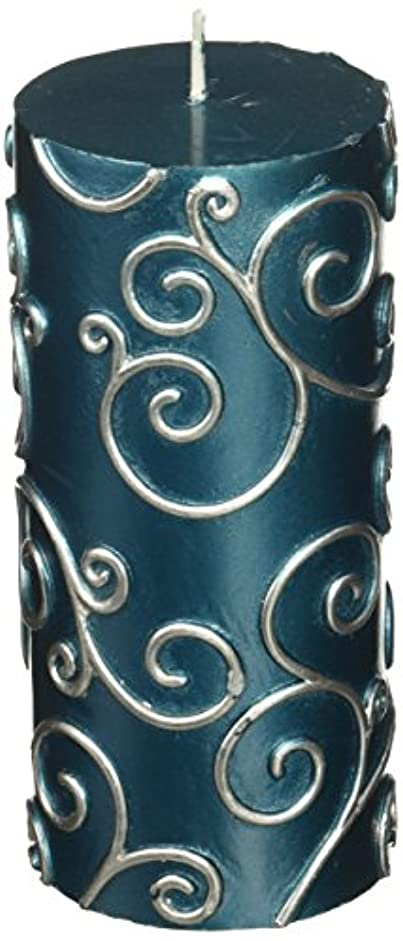 農業のペーストに対処するZest Candle CPS-008-12 3 x 6 in. Blue Scroll Pillar Candle -12pcs-Case - Bulk