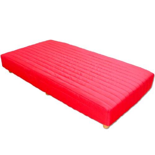 タンスのゲン 脚付きマットレス専用ベッドカバー シングル レッド 65090051 RD