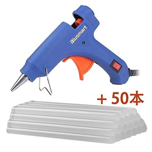 Blumsart小型グルーガン グルースティック50本付き 高温タイプ 強力粘着 接着剤 クラフト作成接着剤道具