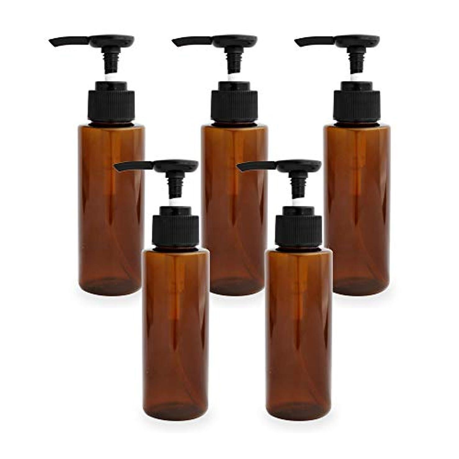 隔離するストリーム滴下ポンプボトル100ml×5本(ブラウン)(プラスチック容器 オイル用空瓶 プラスチック製-PET 空ボトル プッシュポンプ)