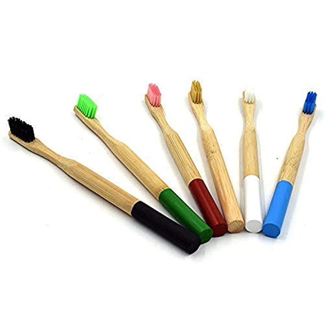 退屈させる写真のはずTAOVK 6pcs 柔らかい毛の木製の歯のブラシ竹のハンドルの歯科口腔ケアの歯ブラシ