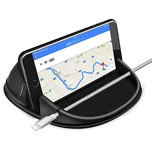 Besiva 車載ホルダー スマホスタンド 滑り止め 柔らかなシリカゲル製 着脱簡単 水洗い可 ダッシュボード/卓上など適用 iPhone/iPad・Android 6.8インチまで多機種対応 GPS ナビ対応 車用品 ブラック