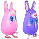 BESTOYARD 2ピース アルミ箔風船 バルーン ウサギ 動物風船 誕生日 結婚式 パーティー用品 飾り ピンクと紫