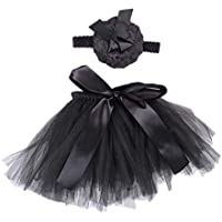 Flyme Baby Girls Tutu Skirt Set with Flower Headband Princess Girl Tutu Outfit Dress Up Skirt Photography Prop for Baby Toddler Birthday Party Outfit (Black)
