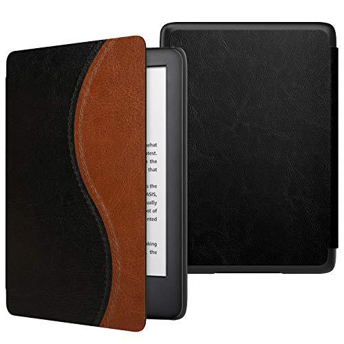ATiC NEW Kindle Newモデル ケース Kindle 第10世代 2019用 軽量 薄型 保護カバー 耐久性 耐衝撃 落下防止 オートスリープ機能付き Black+Brown