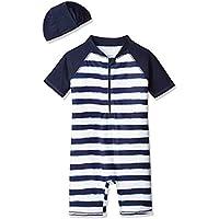 YACCO style (ヤッコースタイル) 男の子 ラッシュガード 水着 キッズ 帽子付き ボーダー UPF50+ 2点 セット 80 90 100 110
