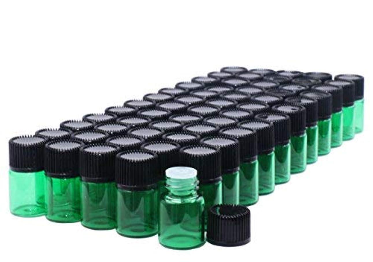 田舎者作物想定Pack of 60,2 ml (5/8 Dram) Green Glass Sample Vials Empty Small glass essential oil sampling Test Bottles with...