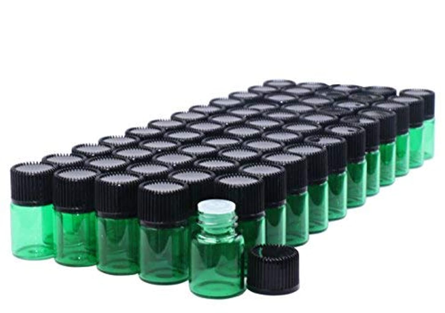保守可能シソーラス専門Pack of 60,2 ml (5/8 Dram) Green Glass Sample Vials Empty Small glass essential oil sampling Test Bottles with...