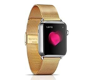 アップルウォッチ用 交換バンド 交換用ラグ付属 高品質なステンレス ベルト for Apple Watch 38mm (Gold)