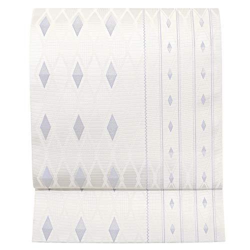 博多織 名古屋帯 仕立て上がり 正絹 白色の地 薄藤 菱 紋平縞 アラベスク 協和織工場 最速 即納 伝統工芸 筑前 博多帯 六通柄 金証紙