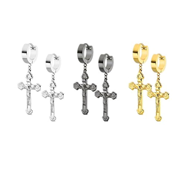 でクレジット発掘Jesus Christ Crucifixフープダングルイヤリングの3、Prayerベネディクト十字架クロス宗教ハギーイヤリングフープ、3ペア