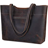 S-ZONE Vintage Genuine Crazy Horse Leather Large Tote Shoulder Bag Purse with Back Zipper Pocket Upgraded 2.0 Version