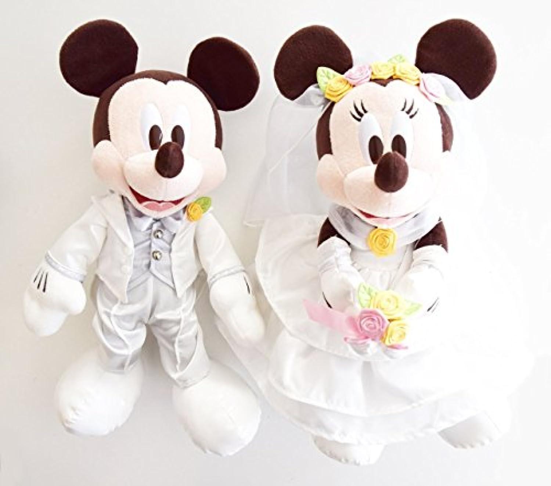 【ディズニーリゾート限定】ウェディングバージョン ミッキーマウス&ミニーマウス ペアぬいぐるみ(大)  ラッピング済み 結婚祝い