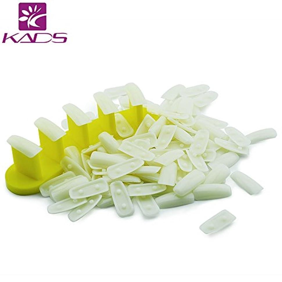 着飾るディスクくしゃくしゃKADS ネイルチップスタンド プラスチック製 100本の練習用爪付き ネイルディスプレー台 ネイル練習台 ネイルアート用品 (イエロー)