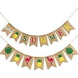 ハローサマー黄麻布バナー 素朴な夏のバナー フラミンゴ柄 夏のガーランドフラッグ装飾 プールパーティー ビーチパーティー バーベキューパーティー マルチカラー Blulu-Summer Banner-01