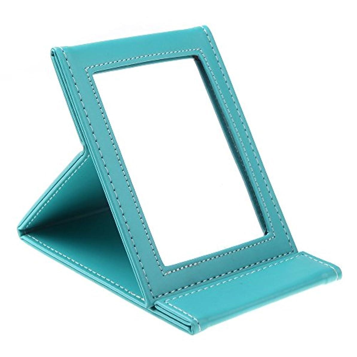 SODIAL 多機能折り畳み式ポータブル化粧メーキャップミラー 旅行用(ブルー)