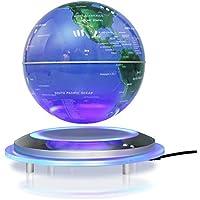 Yosoo 磁気浮上 地球儀 浮遊・回転型の地球儀 浮く地球儀 自動回転 LEDライト 空中浮遊 空中浮揚 世界地図 360度回転 球体点灯回転 電磁誘導 リニアモーターカー地球儀 英語表記 ベース付き 点灯 オフィス 飾り用品 世界地図 教学用 (ブルー(6inch))