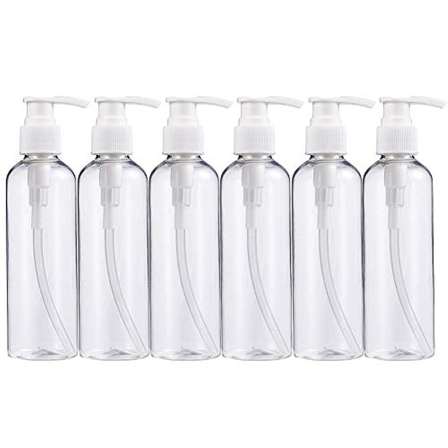 ベッドを作る冷酷な影響BENECREAT 200mlプラスティックスボトル 6個セット小分けボトル プラスチック容器 液体用空ボトル 押し式詰替用ボトル 詰め替え シャンプー クリーム 化粧品 収納瓶