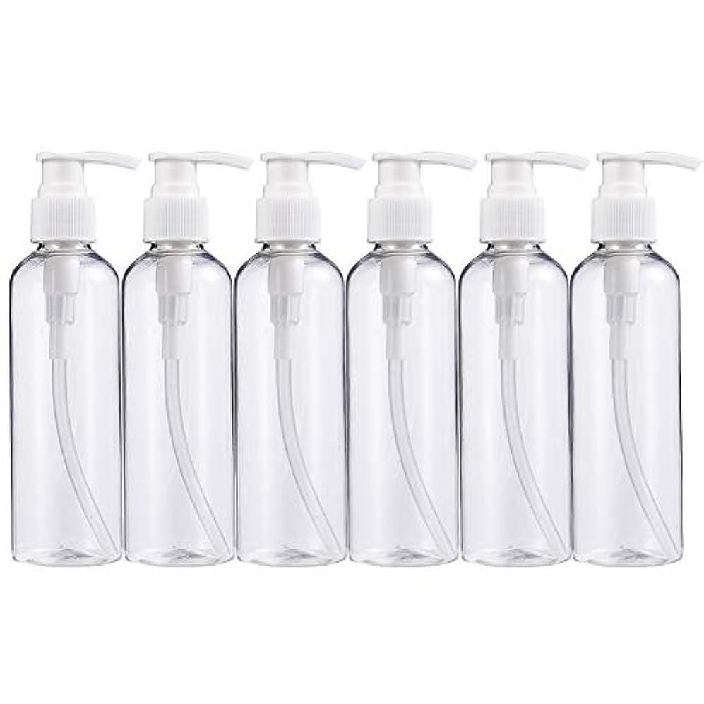 陰謀巨大なパッチBENECREAT 200mlプラスティックスボトル 6個セット小分けボトル プラスチック容器 液体用空ボトル 押し式詰替用ボトル 詰め替え シャンプー クリーム 化粧品 収納瓶