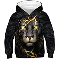 Morbuy Boys Girls 3D Lion Print Unisex Hoodies, Winter Autumn Kids Casual Long Sleeve Tracksuits Tops with Pocket Pullover Hoodie Jacket 6-14 Year