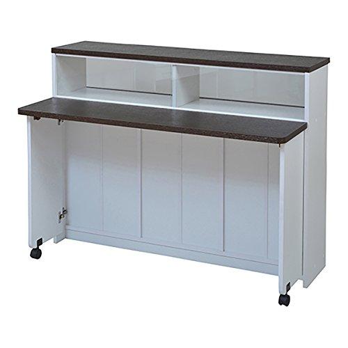 JKプラン 間仕切り キッチンカウンター 幅 120 キッチン収納 食器棚 ラック キッチンボード ホワイトダークブラウン FKC-0552-WHDB