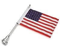 Liebeye 旗 オートバイ バイク ポール ハーレー XL883 1200 X48用 装飾 デコレーション アクセサリー シルバーポール+アメリカ国旗
