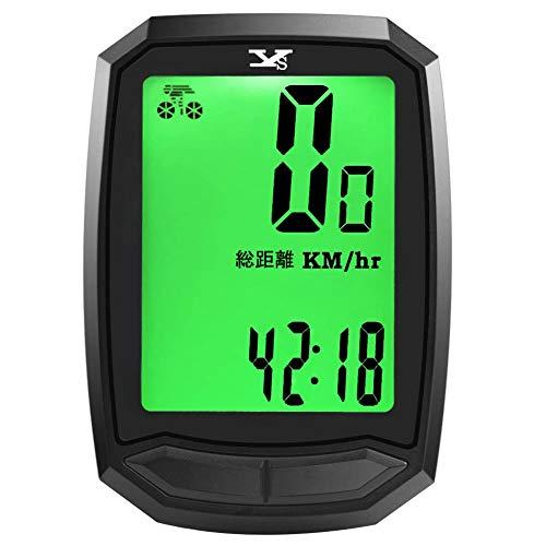 サイクルコンピューター スピードメーター 自転車コンピューター サイクルメーター ワイヤレス 日本語大画面表示 バックライト付き 自動電源ON/OFF スピード 走行距離計 走行時間計