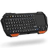 Fosmon ミニ ワイヤレス Bluetooth キーボード タッチパッド搭載【QWERTYキーパッド | Bluetooth 3.0 | マウスセット 一体型 | バックライト搭載 | ポータブル 無線 軽量小型】Apple iOS、Android、Windows スマホ タブレット、PS3 / PS4、スマートTV、ラップトップ、ノート対応【日本語説明書 - 説明をご覧ください】(ブラック)