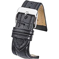 Genuine padded leather watch band in Alligator grain finish -assorted 10 colors in sizes 18mm, 20mm, 22mm & 24mm