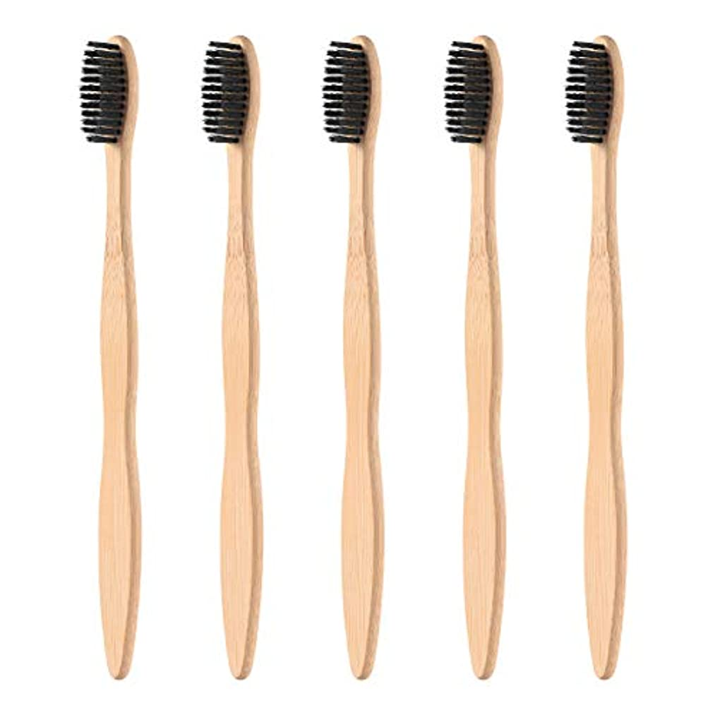 歪めるタイプライター出席するHealifty タケ環境的に歯ブラシ5pcsは柔らかい黒い剛毛が付いている自然な木のEcoの友好的な歯ブラシを扱います