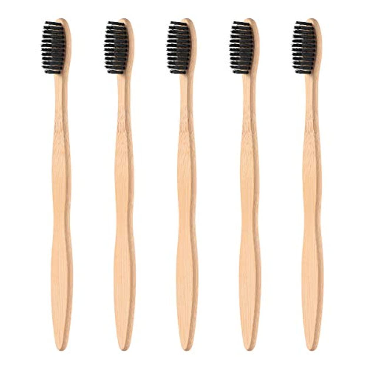 それ維持するパーティーHealifty タケ環境的に歯ブラシ5pcsは柔らかい黒い剛毛が付いている自然な木のEcoの友好的な歯ブラシを扱います