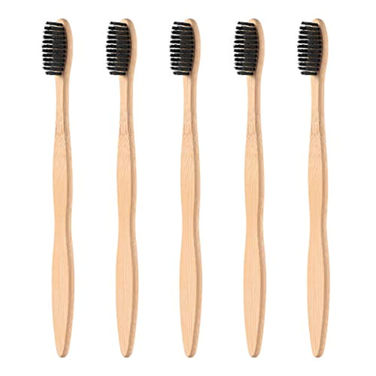 トラフィック代数的川Healifty タケ環境的に歯ブラシ5pcsは柔らかい黒い剛毛が付いている自然な木のEcoの友好的な歯ブラシを扱います