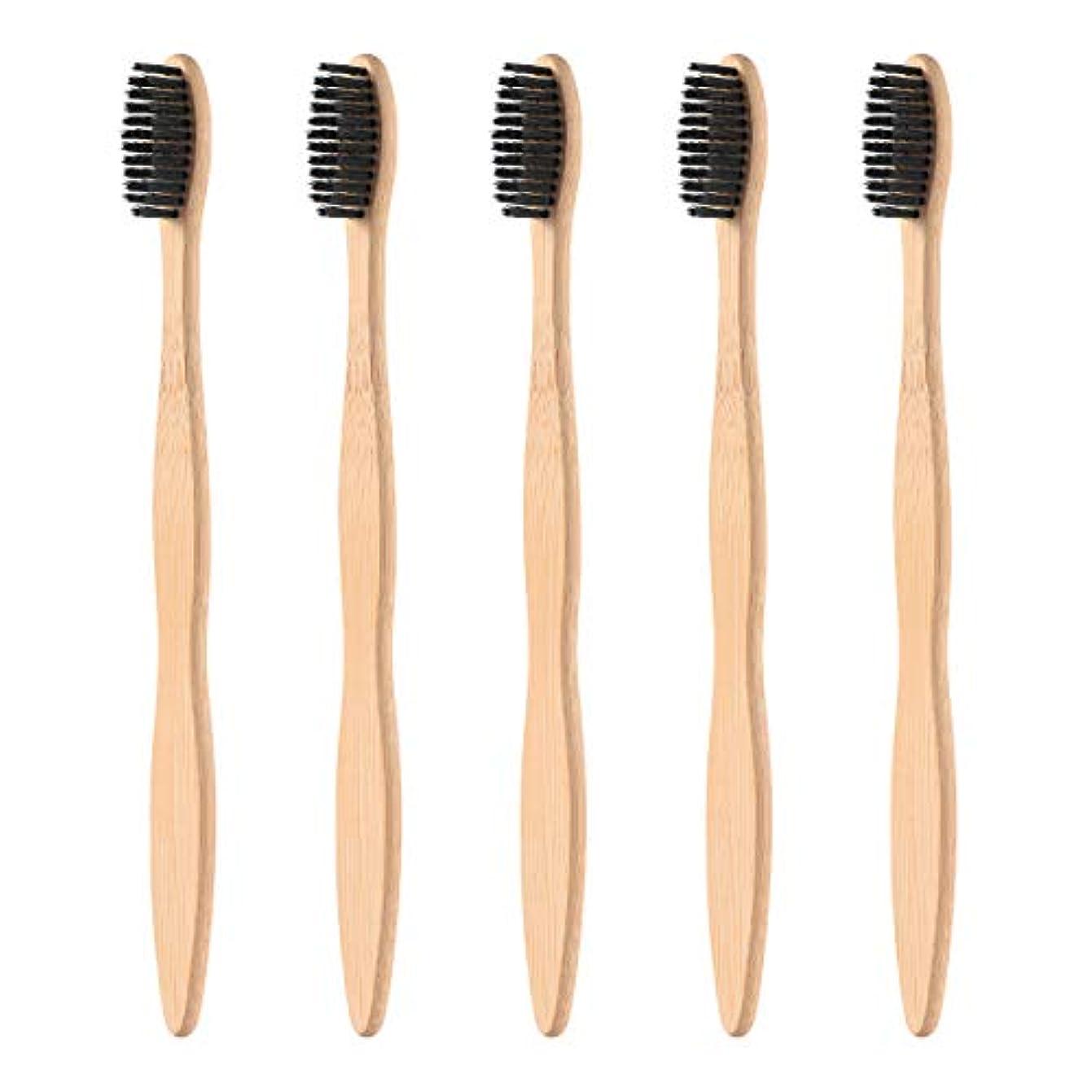 ゆるい正しく騒乱Healifty 柔らかい黒い剛毛が付いている5pcsタケハンドルの歯ブラシの自然な木のEcoの友好的な歯ブラシ
