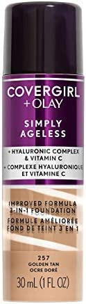 COVERGIRL+Olay Simply Ageless 3-in-1 Liquid Foundation, 60 Grams, Golden Tan