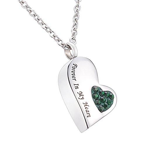 HooAMI 手元供養 メモリアルペンダント 防水中空 ハート ネックレス ステンレス 遺骨ペンダント Forever In My Heart グリーン 2.4*1.0*0.4cm