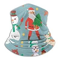 クリスマスキャラクターシームレスパターンフリースネックウォーマーメンズ-防寒用ネックゲーターフェイスマスク(寒い季節用)-フェイススカーフ(冬のアウトドアアクティビティ用)