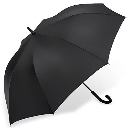 PLEMO 長傘 大きな傘 自動開けステッキ傘 紳士傘 耐風傘 撥水加工 梅雨対策 ブラック 112センチ