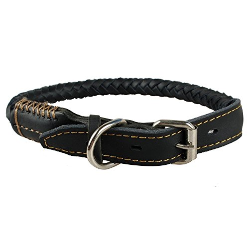 LaReine レザー バックル 中型犬用大型犬用 手作り編みタイプ 本革 おしゃれ首輪 (44.5-53cm, ブラック)