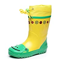 Fashion maker(F&M)レインブーツ キッズ 女の子 男の子 長靴 レインシューズ 子供靴 軽量 可愛い 雨靴 防水 雨具 おしゃれ ながぐつ 梅雨対策 動物柄 (22cm(FR32-33), イエロー)