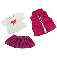 Dovewill  18インチアメリカンガールドール対応 人形 かわいい Tシャツ スカート ウエストコート セット 全3色選ぶ - 02
