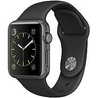 Apple Watch スペースグレイアルミニウムケースとブラックスポーツバンド 38mm