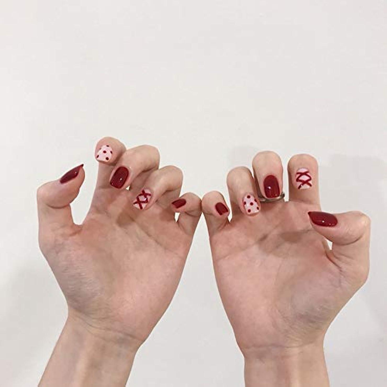 ライオンコスチューム刺すNANNAN ネイルチップ ネイルチップ 手作りネイルチップ ネイルジュエリー つけ爪 24枚入 フルチップ シンプル 結婚式、パーティー、二次会などに ネイルアート 赤