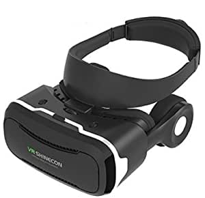 VR SHINECON 3D VRメガネ スマートフォン 映画/ゲームに適用3D映像効果焦点・視界距離調整可能360度動画仮想現実360度バーチャル空間頭部装着ストラップ設計操作便利 素晴らしい没入感臨場感強いよいつけ心地高品質高通気性VR 近視500度の人も適用