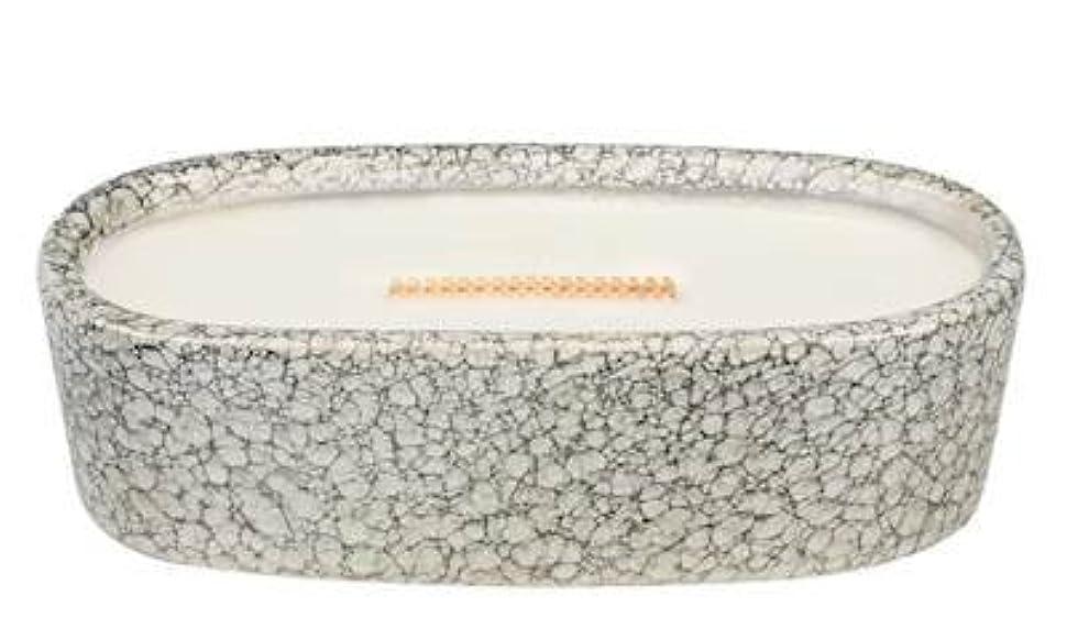 不安定マラソン強度Currant Pebble Stone MediumプレミアムHearthWick Flame Scented Candle by WoodWick