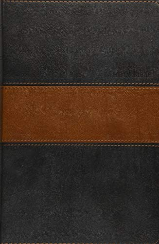 Holy Bible: New Living Translation, Black / Tan LeatherLike, Personal Size