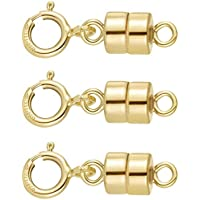 3 PACK 14k Gold-filled 4.5 mm Magnetic Clasp Converter for Light Necklaces USA 5.5 mm Spring Ring