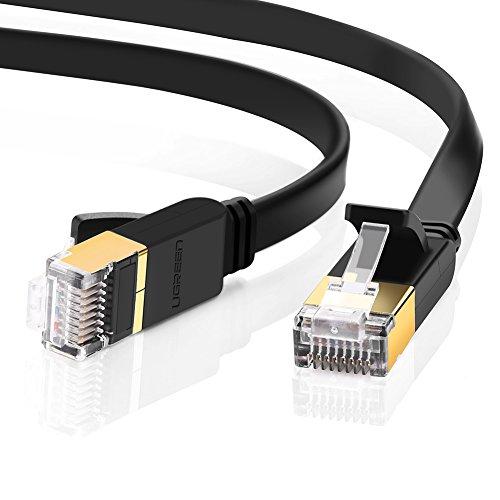 Ugreen LANケーブル CAT7準拠 ギガビット 爪折れ防止 10Gbps/600MHz カテゴリー7 シールド イーサネット RJ45 モデム パッチパネル アクセスポイント等に対応 フラット 1m