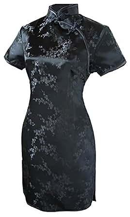 7Fairy レディース ブラック 黒 Sexy チャイナ ドレス 旗袍 ミニ 花 サイズ JP 11