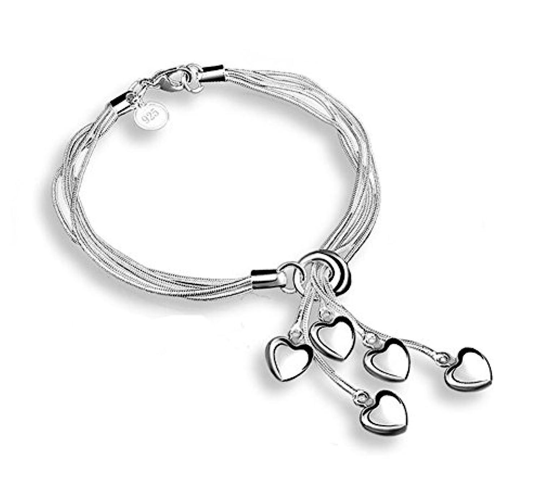 Doitsa 多連ブレスレット 腕輪 ハート5個 おしゃれ シルバー アクセサリー 結婚式 誕生日 ファッション 友達恋人 レディース 銀