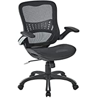 Office Star Mesh Back & Seat 2-to-1 Synchro & Lumbar Support Managers Chair Black [並行輸入品]